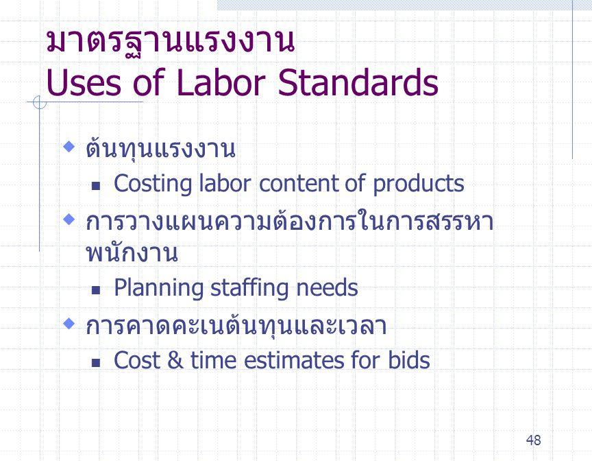48 มาตรฐานแรงงาน Uses of Labor Standards  ต้นทุนแรงงาน Costing labor content of products  การวางแผนความต้องการในการสรรหา พนักงาน Planning staffing n