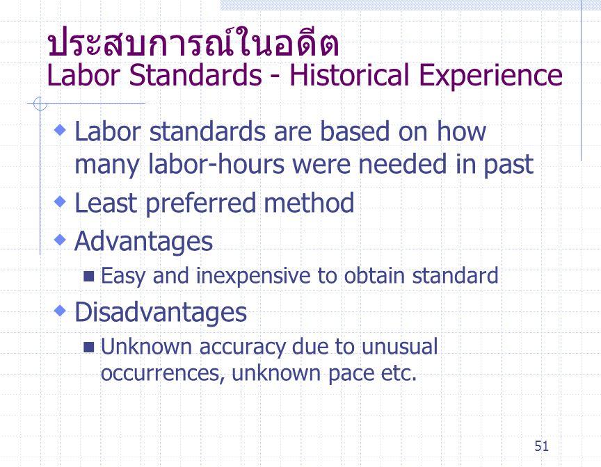 51 ประสบการณ์ในอดีต Labor Standards - Historical Experience  Labor standards are based on how many labor-hours were needed in past  Least preferred