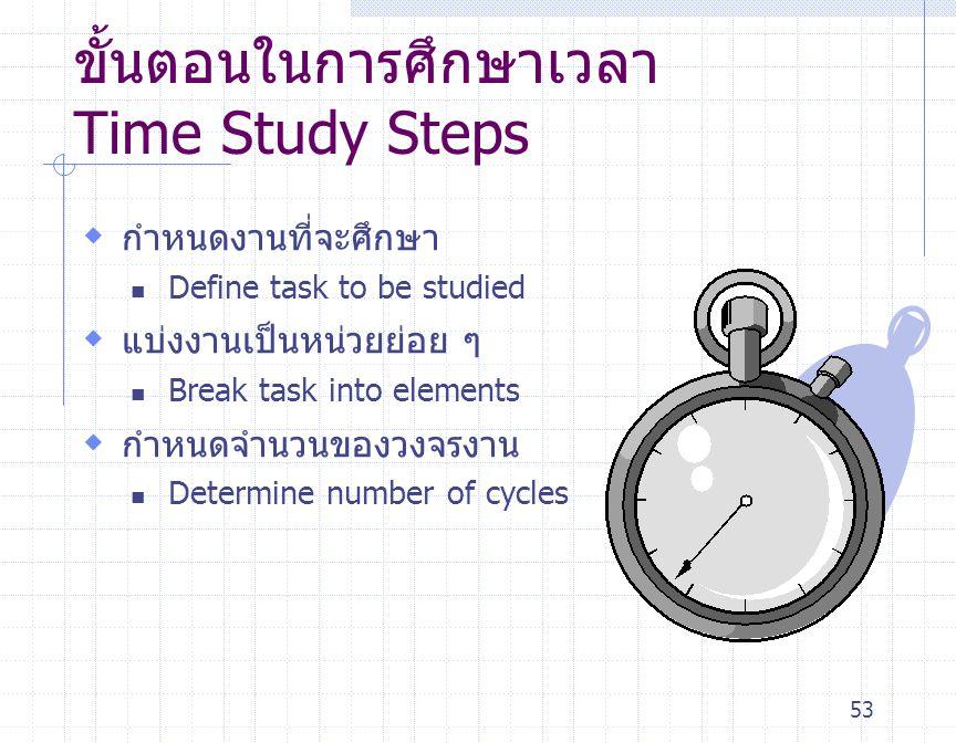 53 ขั้นตอนในการศึกษาเวลา Time Study Steps  กำหนดงานที่จะศึกษา Define task to be studied  แบ่งงานเป็นหน่วยย่อย ๆ Break task into elements  กำหนดจำนว