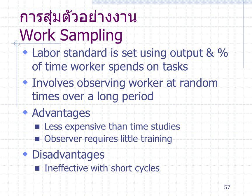 57 การสุ่มตัวอย่างงาน Work Sampling  Labor standard is set using output & % of time worker spends on tasks  Involves observing worker at random time
