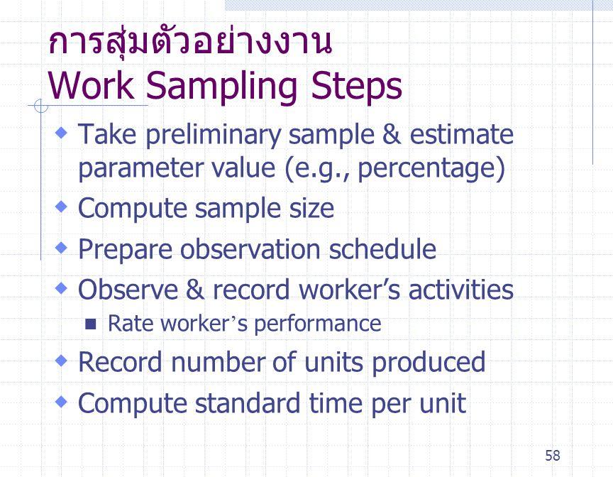 58 การสุ่มตัวอย่างงาน Work Sampling Steps  Take preliminary sample & estimate parameter value (e.g., percentage)  Compute sample size  Prepare obse