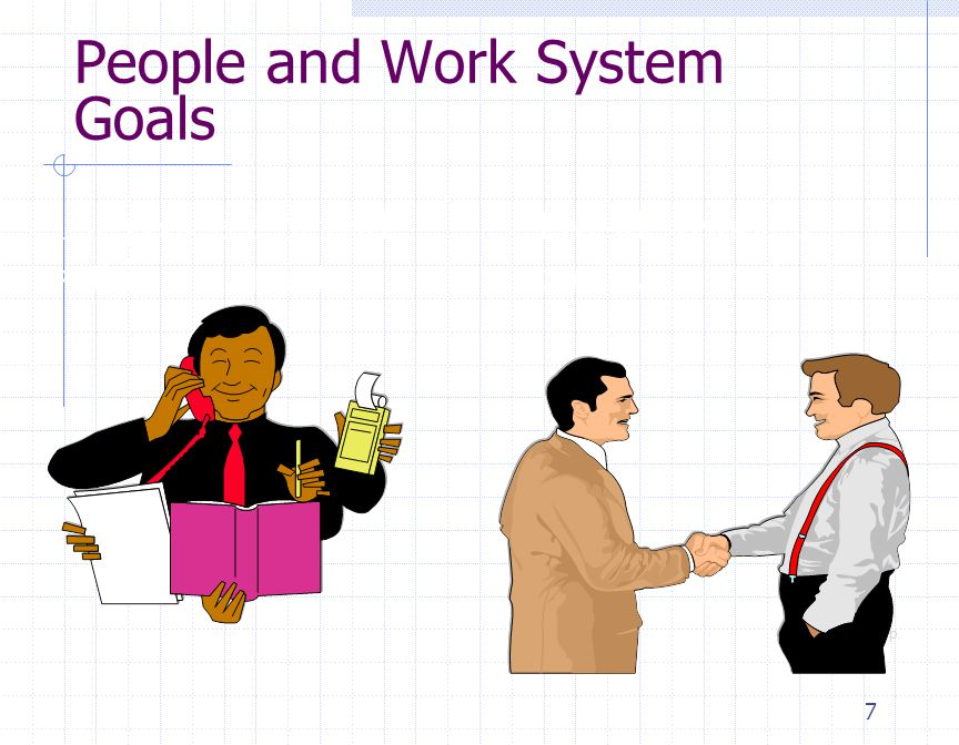 7 People and Work System Goals Use people efficiently within constraints Provide reasonable quality of work life ฉ 1995 Corel Corp.