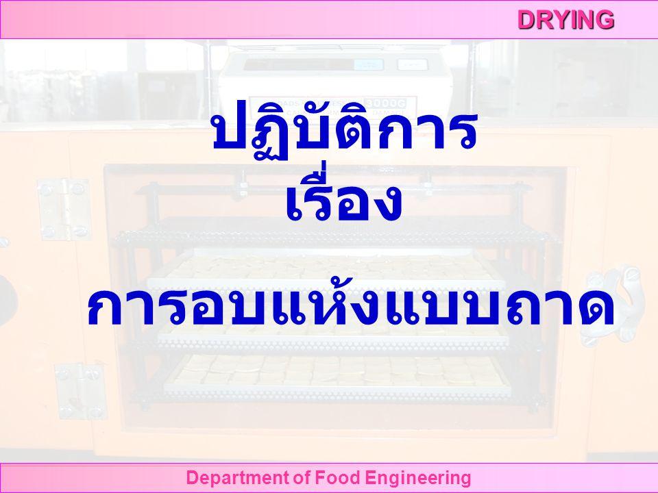 DRYING Department of Food Engineering ปฏิบัติการ เรื่อง การอบแห้งแบบถาด