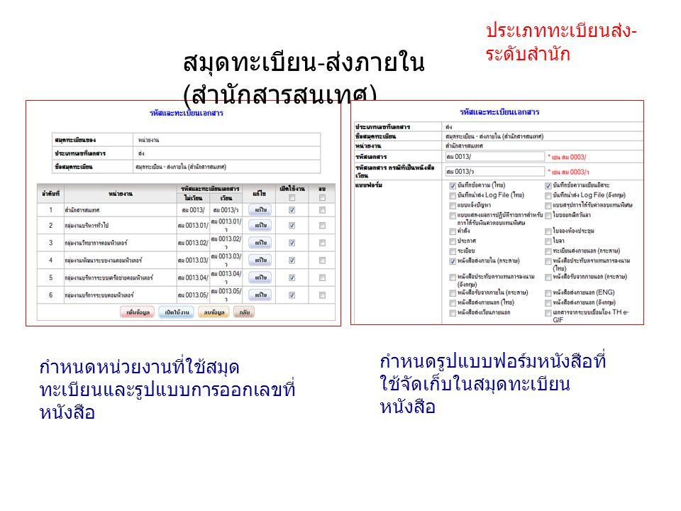 สมุดทะเบียน - ส่งภายใน ( สำนักสารสนเทศ ) ประเภททะเบียนส่ง - ระดับสำนัก กำหนดหน่วยงานที่ใช้สมุด ทะเบียนและรูปแบบการออกเลขที่ หนังสือ กำหนดรูปแบบฟอร์มหน