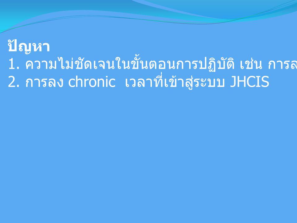 ปัญหา 1. ความไม่ชัดเจนในขั้นตอนการปฏิบัติ เช่น การลงข้อมูลโภชนาการเด็ก 2. การลง chronic เวลาที่เข้าสู่ระบบ JHCIS
