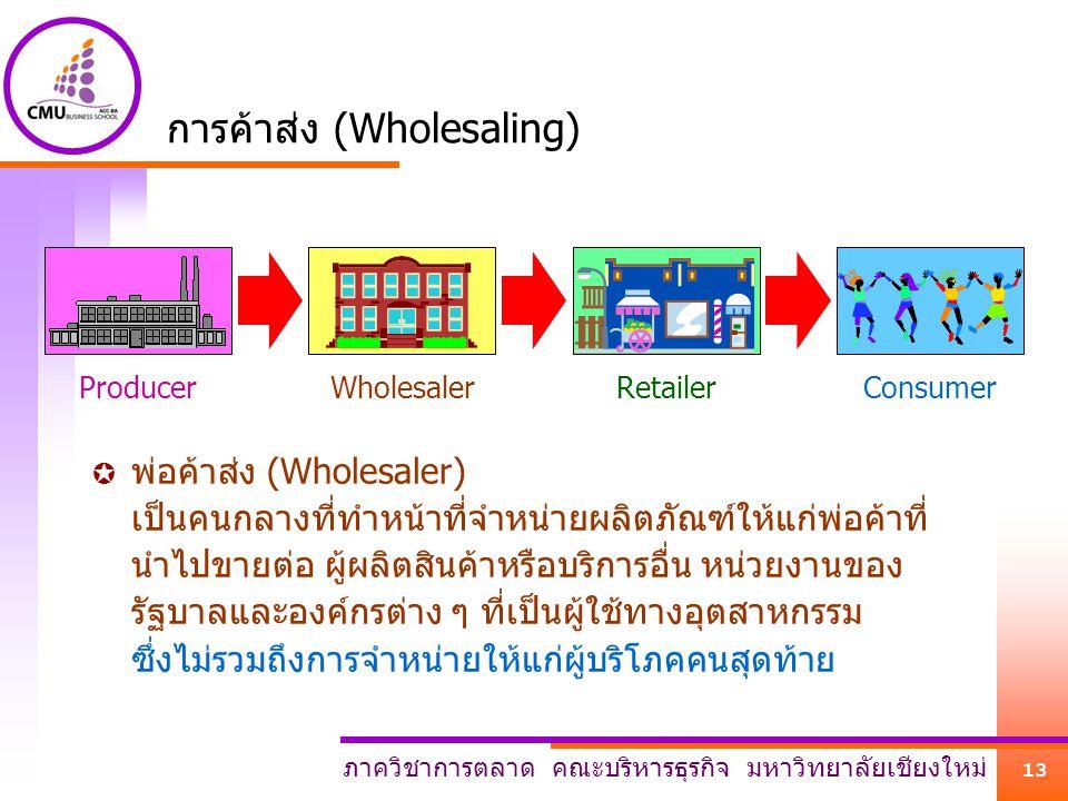 ภาควิชาการตลาด คณะบริหารธุรกิจ มหาวิทยาลัยเชียงใหม่ 13 ProducerWholesalerRetailerConsumer การค้าส่ง (Wholesaling)  พ่อค้าส่ง (Wholesaler) เป็นคนกลางท
