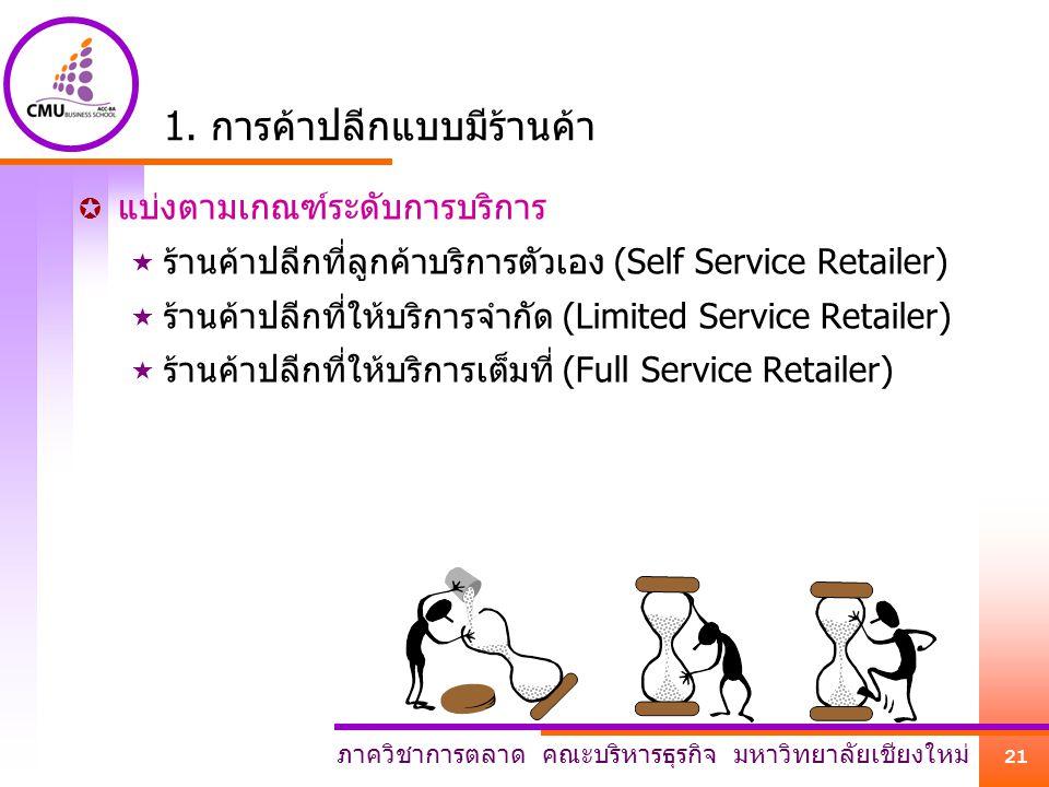 ภาควิชาการตลาด คณะบริหารธุรกิจ มหาวิทยาลัยเชียงใหม่ 21 1. การค้าปลีกแบบมีร้านค้า  แบ่งตามเกณฑ์ระดับการบริการ  ร้านค้าปลีกที่ลูกค้าบริการตัวเอง (Self