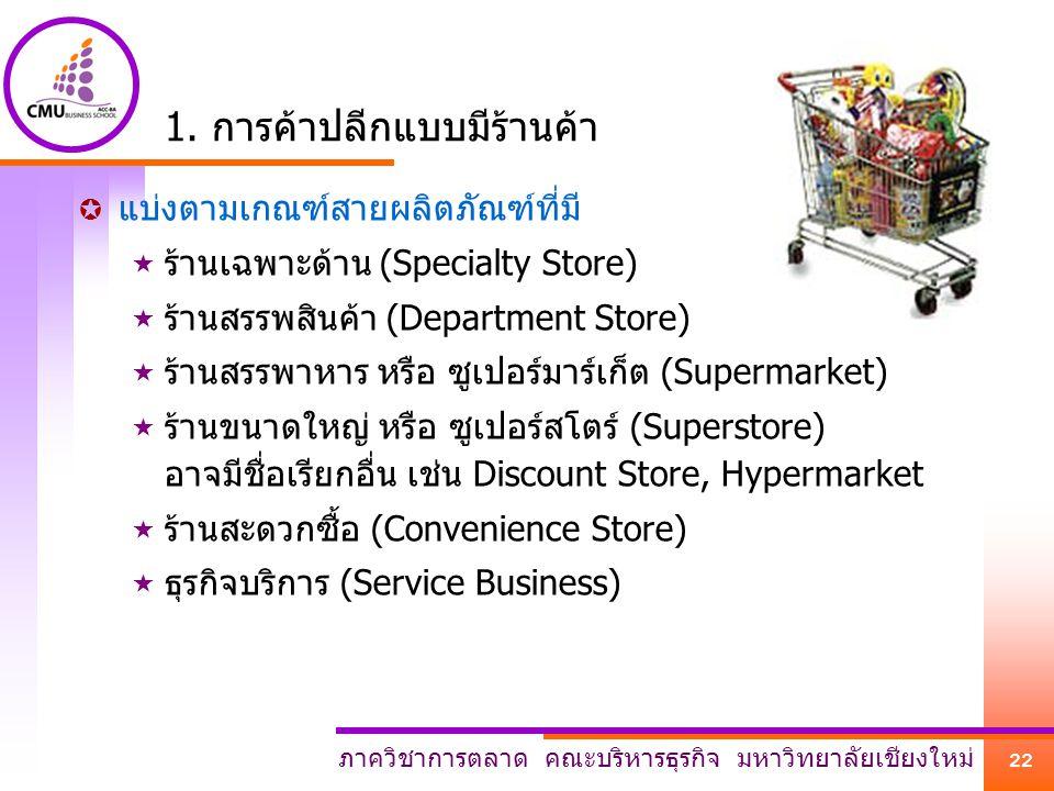 ภาควิชาการตลาด คณะบริหารธุรกิจ มหาวิทยาลัยเชียงใหม่ 22 1. การค้าปลีกแบบมีร้านค้า  แบ่งตามเกณฑ์สายผลิตภัณฑ์ที่มี  ร้านเฉพาะด้าน (Specialty Store)  ร