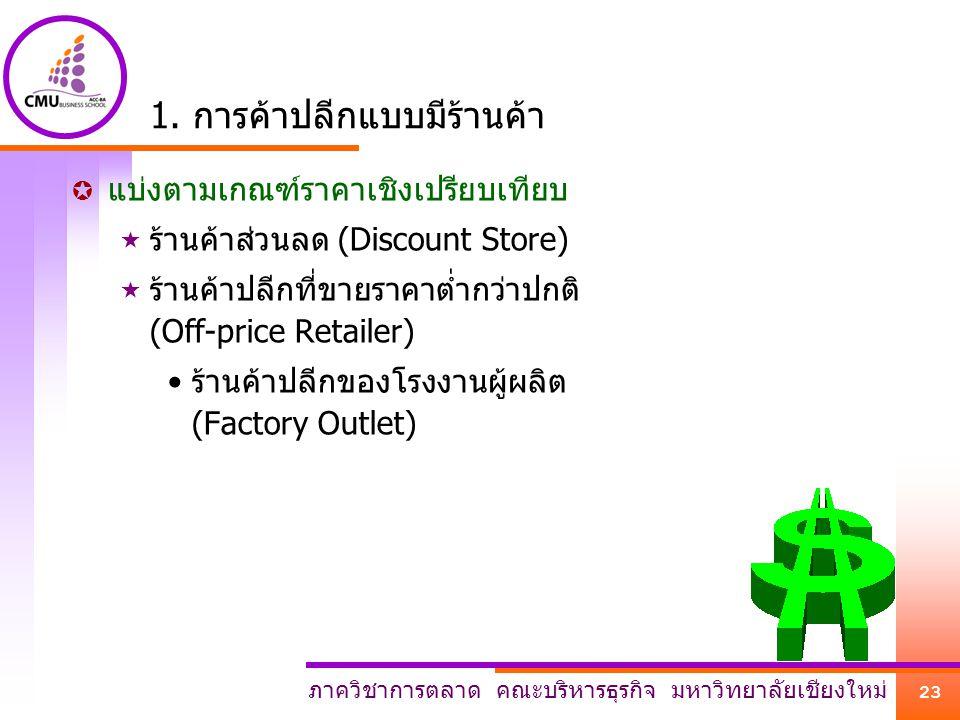ภาควิชาการตลาด คณะบริหารธุรกิจ มหาวิทยาลัยเชียงใหม่ 23 1. การค้าปลีกแบบมีร้านค้า  แบ่งตามเกณฑ์ราคาเชิงเปรียบเทียบ  ร้านค้าส่วนลด (Discount Store) 