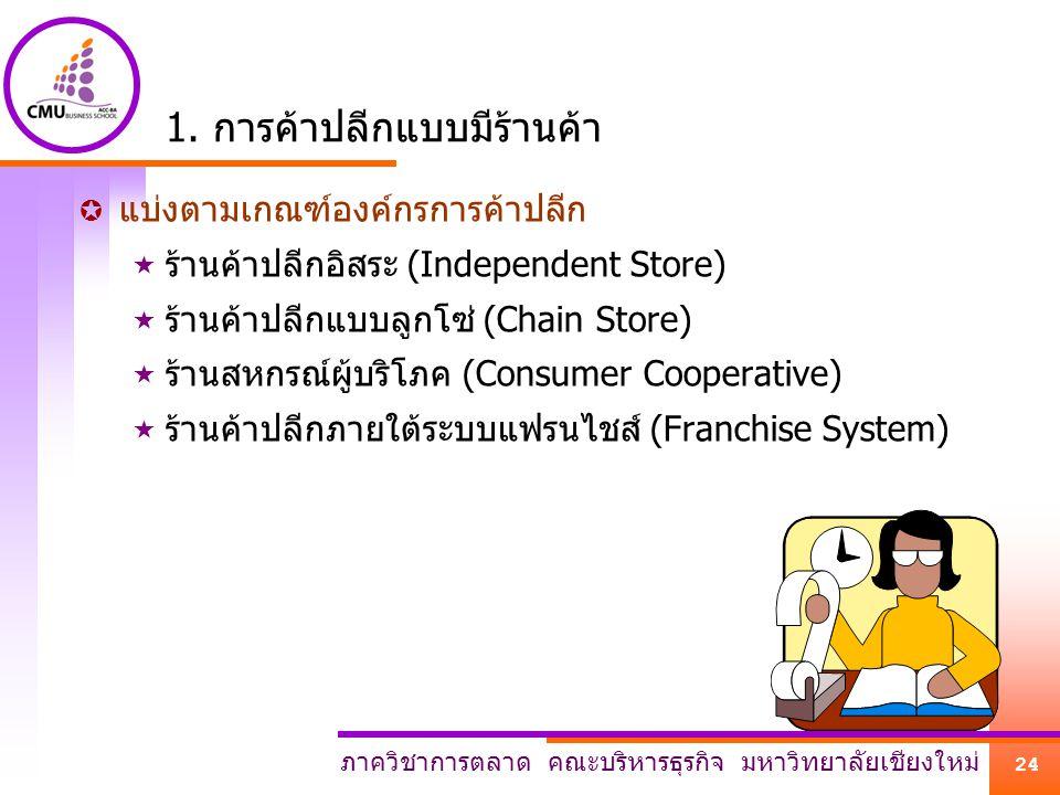 ภาควิชาการตลาด คณะบริหารธุรกิจ มหาวิทยาลัยเชียงใหม่ 24 1. การค้าปลีกแบบมีร้านค้า  แบ่งตามเกณฑ์องค์กรการค้าปลีก  ร้านค้าปลีกอิสระ (Independent Store)