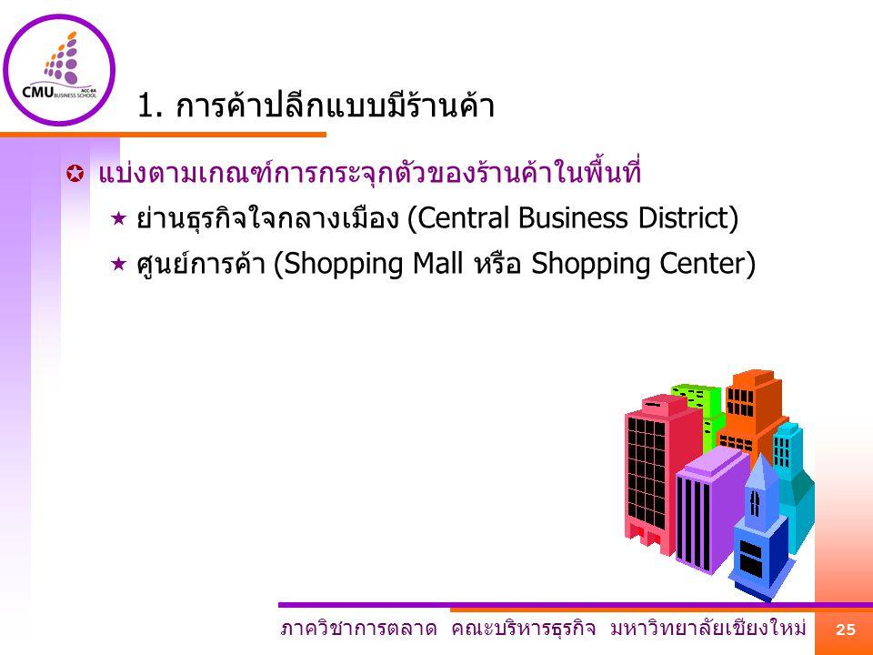 ภาควิชาการตลาด คณะบริหารธุรกิจ มหาวิทยาลัยเชียงใหม่ 25 1. การค้าปลีกแบบมีร้านค้า  แบ่งตามเกณฑ์การกระจุกตัวของร้านค้าในพื้นที่  ย่านธุรกิจใจกลางเมือง