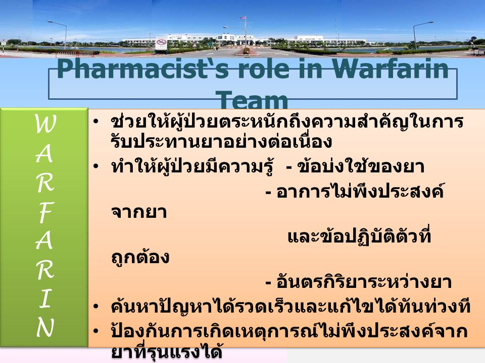 14 Pharmacist's role in Warfarin Team WARFARINWARFARIN WARFARINWARFARIN