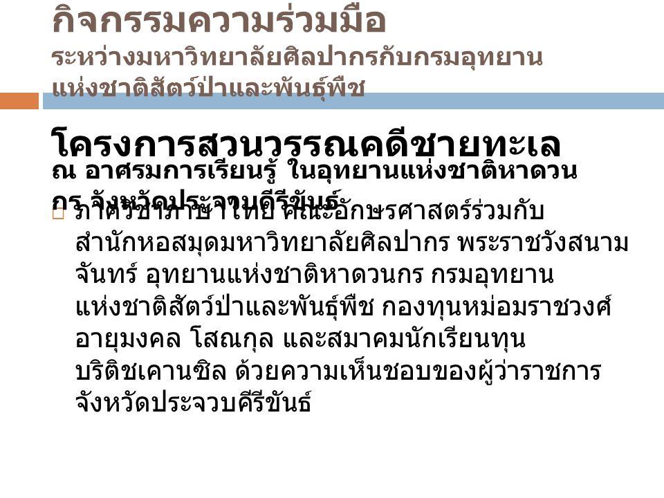 งานวิจัย ตัวอย่างโครงการ : 1.1 โครงการวิจัยและจัดทำสวนพันธุ์ไม้ใน วรรณคดี รูปแบบกิจกรรม : เก็บข้อมูลพันธุ์ไม้ในอุทยาน แห่งชาติที่มีปรากฏในวรรณคดีเรื่องต่าง ๆ ของไทย แล้วจัดทำเป็น