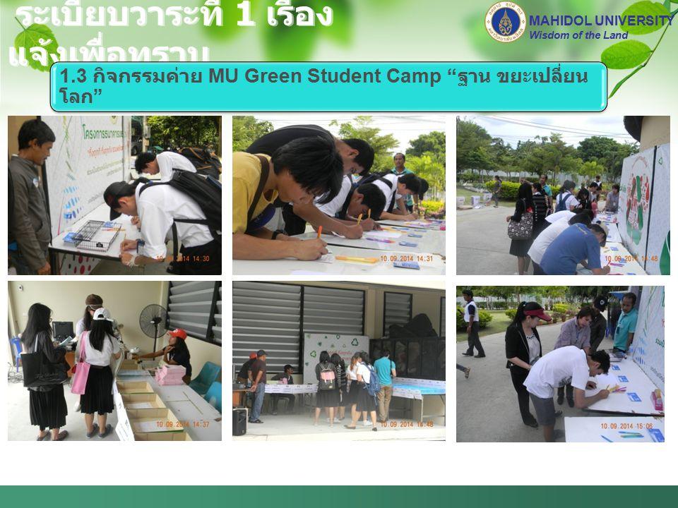 ระเบียบวาระที่ 1 เรื่อง แจ้งเพื่อทราบ MAHIDOL UNIVERSITY Wisdom of the Land 1.3 กิจกรรมค่าย MU Green Student Camp ฐาน ขยะเปลี่ยน โลก