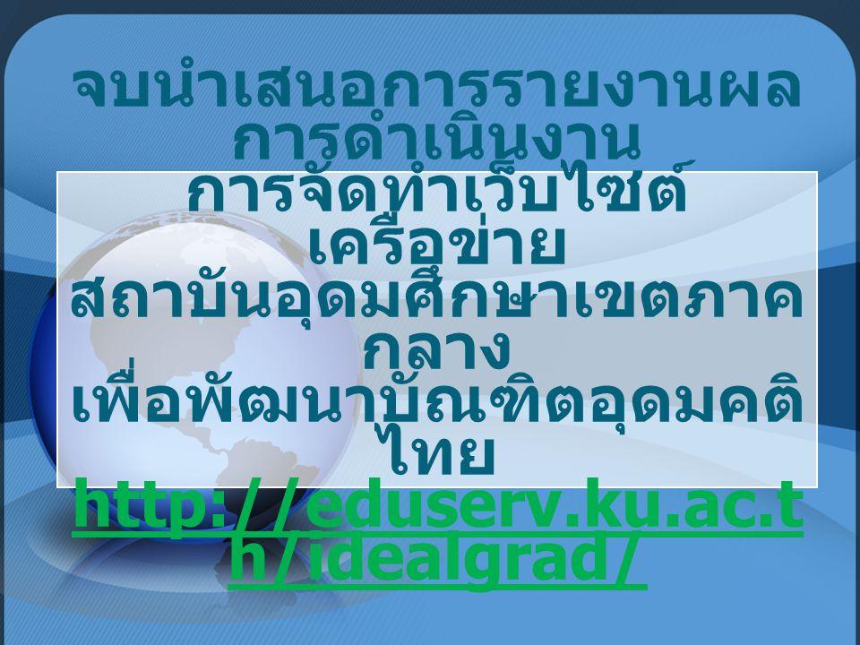 จบนำเสนอการรายงานผล การดำเนินงาน การจัดทำเว็บไซต์ เครือข่าย สถาบันอุดมศึกษาเขตภาค กลาง เพื่อพัฒนาบัณฑิตอุดมคติ ไทย http://eduserv.ku.ac.t h/idealgrad/