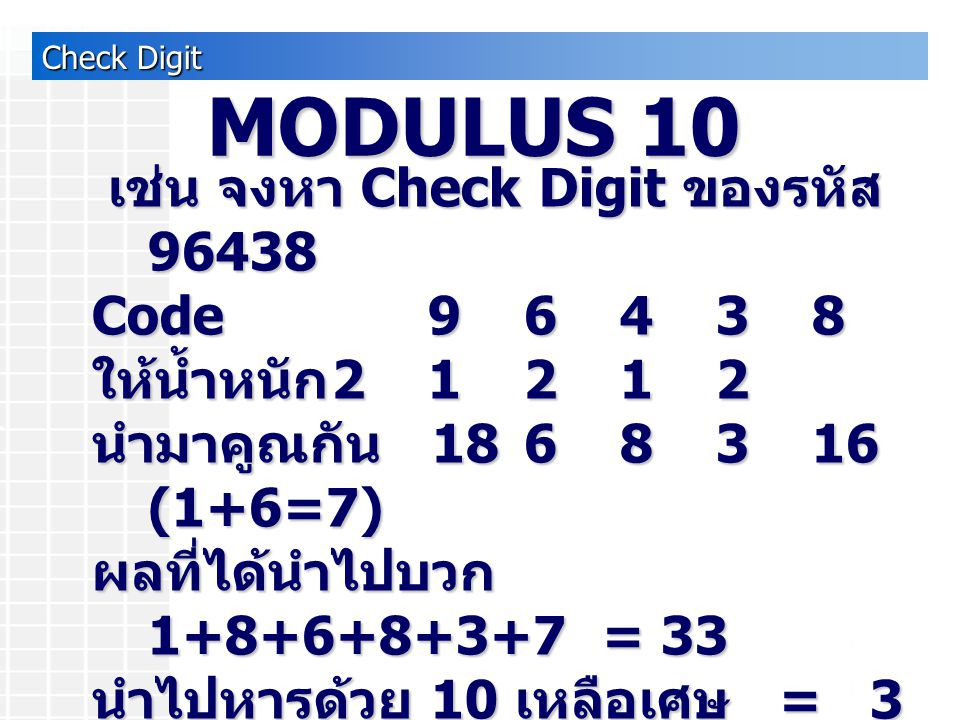 Check Digit เช่น จงหา Check Digit ของรหัส 96438 เช่น จงหา Check Digit ของรหัส 96438 Code 96438 ให้น้ำหนัก 2 1 2 1 2 นำมาคูณกัน 1868316 (1+6=7) ผลที่ได