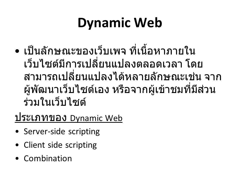 Dynamic Web เป็นลักษณะของเว็บเพจ ที่เนื้อหาภายใน เว็บไซต์มีการเปลี่ยนแปลงตลอดเวลา โดย สามารถเปลี่ยนแปลงได้หลายลักษณะเช่น จาก ผู้พัฒนาเว็บไซต์เอง หรือจ