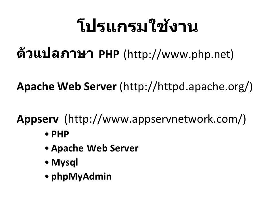 โปรแกรมใช้งาน ตัวแปลภาษา PHP (http://www.php.net) Apache Web Server (http://httpd.apache.org/) Appserv (http://www.appservnetwork.com/) PHP Apache Web Server Mysql phpMyAdmin