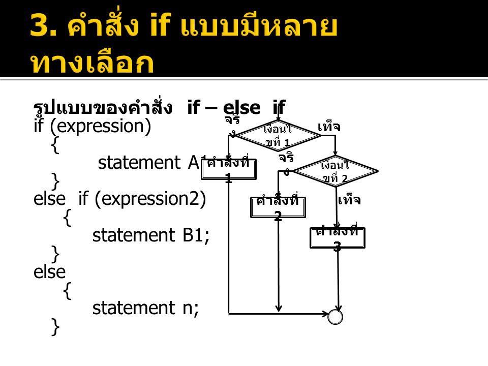 รูปแบบของคำสั่ง if – else if if (expression) { statement A1; } else if (expression2) { statement B1; } else { statement n; } เงื่อนไ ขที่ 1 คำสั่งที่