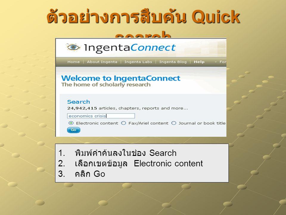 ตัวอย่างการสืบค้น Quick search 1. พิมพ์คำค้นลงในช่อง Search 2. เลือกเขตข้อมูล Electronic content 3. คลิก Go