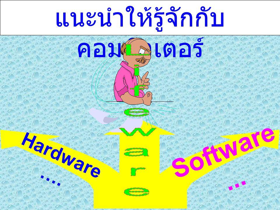 แนะนำให้รู้จักกับ คอมพิวเตอร์ Hardware …. Software...