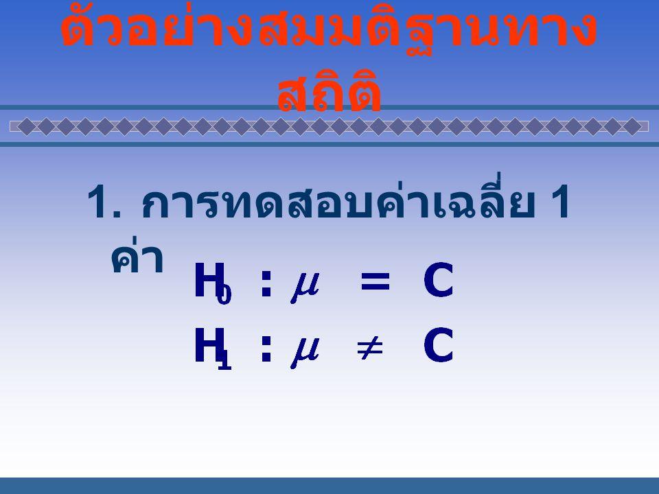 ตัวอย่างสมมติฐานทาง สถิติ 1. การทดสอบค่าเฉลี่ย 1 ค่า