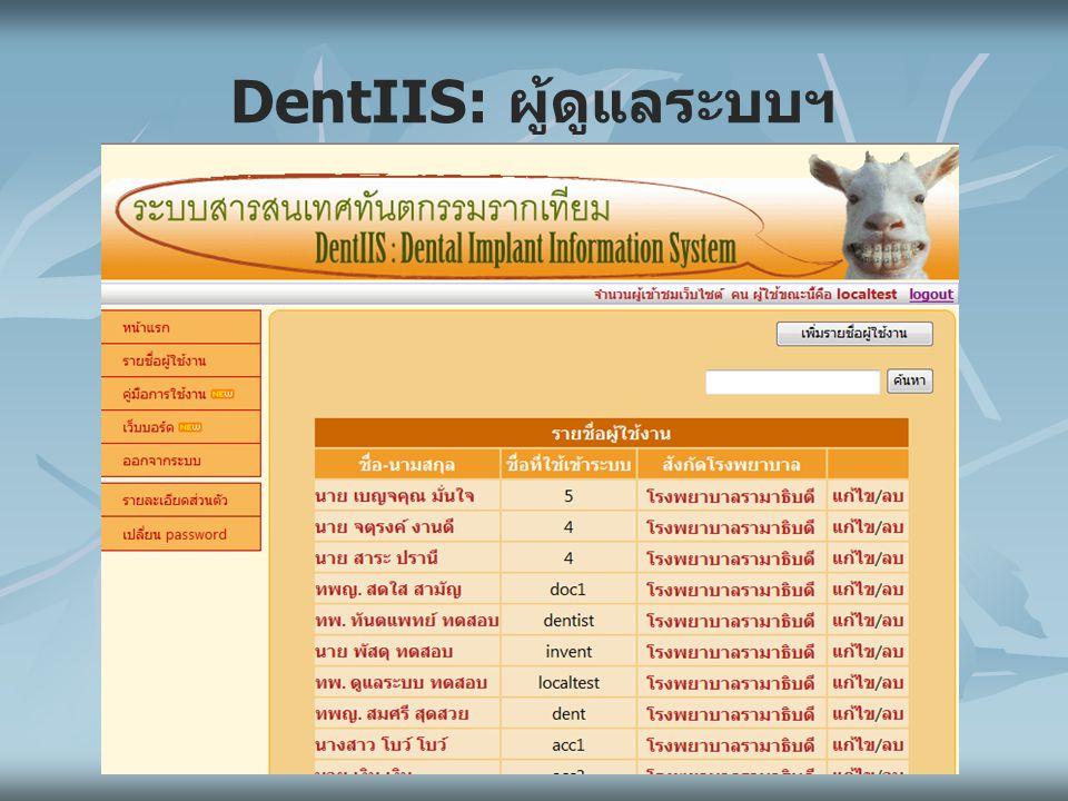 DentIIS: ผู้ดูแลระบบฯ