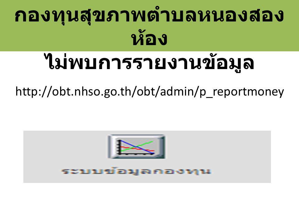 http://obt.nhso.go.th/obt/admin/p_reportmoney กองทุนสุขภาพตำบลหนองสอง ห้อง ไม่พบการรายงานข้อมูล