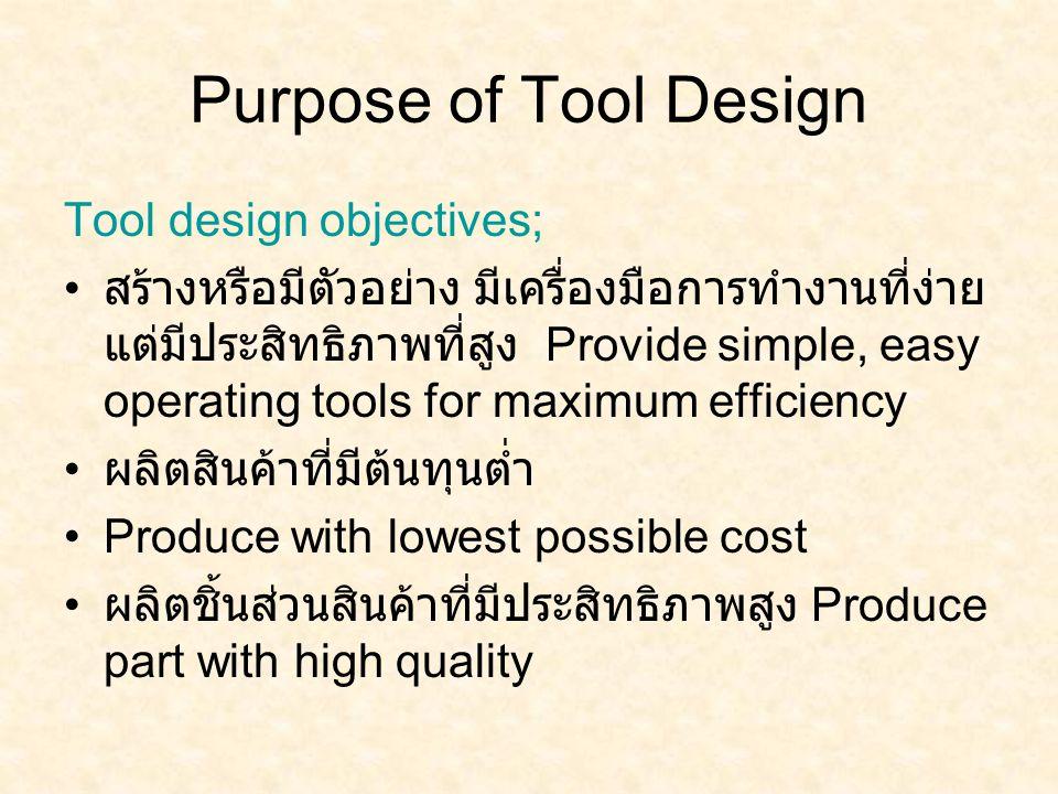 Purpose of Tool Design Tool design objectives; สร้างหรือมีตัวอย่าง มีเครื่องมือการทำงานที่ง่าย แต่มีประสิทธิภาพที่สูง Provide simple, easy operating t