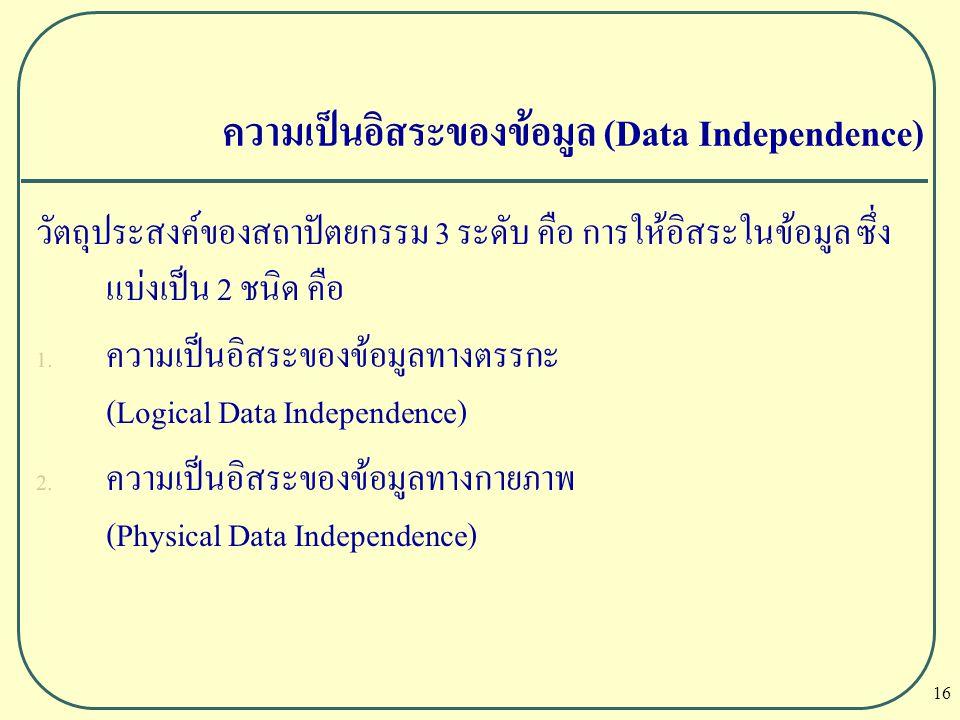 16 วัตถุประสงค์ของสถาปัตยกรรม 3 ระดับ คือ การให้อิสระในข้อมูล ซึ่ง แบ่งเป็น 2 ชนิด คือ  ความเป็นอิสระของข้อมูลทางตรรกะ (Logical Data Independence) 