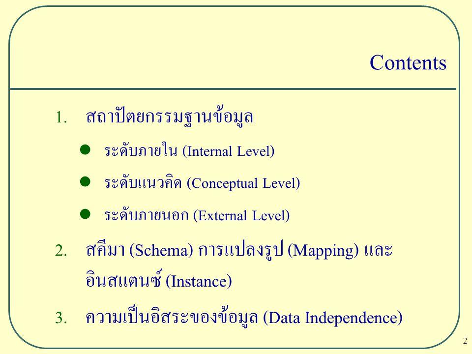 13 ฐานข้อมูลหนึ่งฐานข้อมูล จะมี โครงร่างระดับแนวคิด (Conceptual Schema) เพียง 1 โครงร่าง แต่มีโครงร่างภายนอก External Level) หรือ External Schema ได้หลายๆ โครงร่าง User Schema จะอยู่ในระดับ โครงร่างระดับภายนอก (External Level) หรือ External Schema ที่ผู้ใช้งานสามารถมองเห็นข้อมูล ได้หลายๆ รูปแบบ ที่เรียกว่า View สคีมา (Schema) การแปลงรูป (Mapping) และอินสแตนซ์ (Instance)