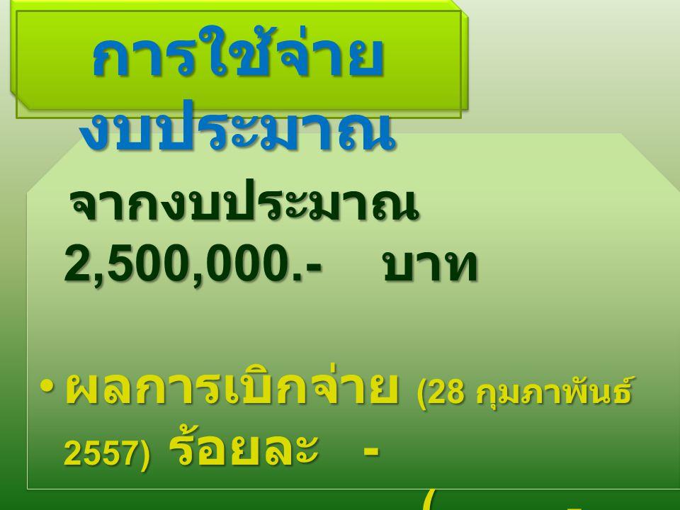 การใช้จ่าย งบประมาณ จากงบประมาณ 2,500,000.- บาท จากงบประมาณ 2,500,000.- บาท ผลการเบิกจ่าย (28 กุมภาพันธ์ 2557) ร้อยละ - ผลการเบิกจ่าย (28 กุมภาพันธ์ 2