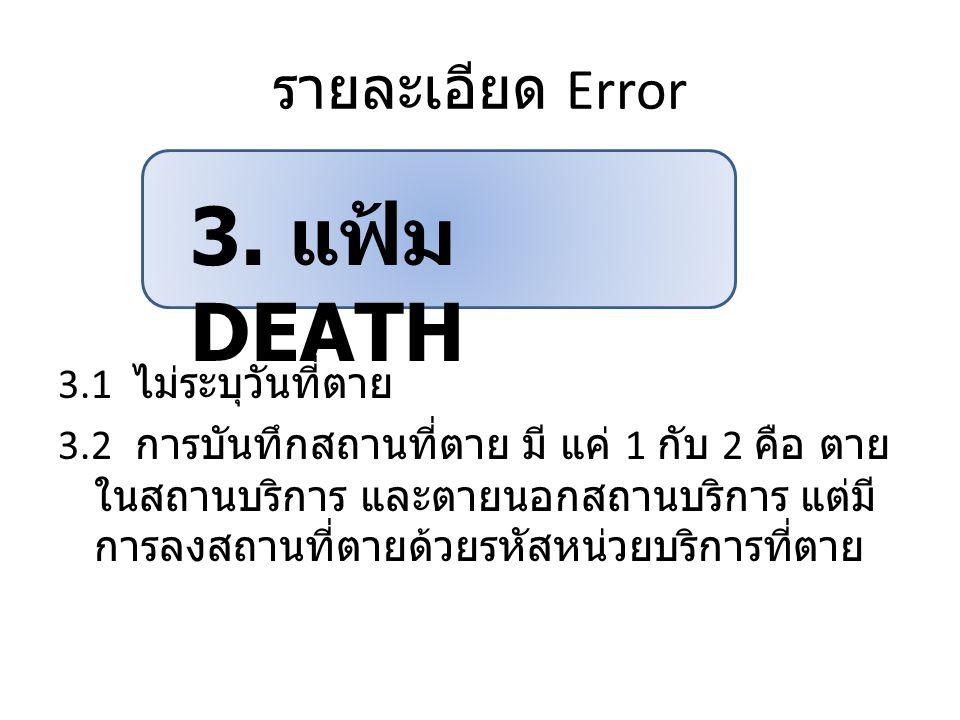 รายละเอียด Error 3.1 ไม่ระบุวันที่ตาย 3.2 การบันทึกสถานที่ตาย มี แค่ 1 กับ 2 คือ ตาย ในสถานบริการ และตายนอกสถานบริการ แต่มี การลงสถานที่ตายด้วยรหัสหน่