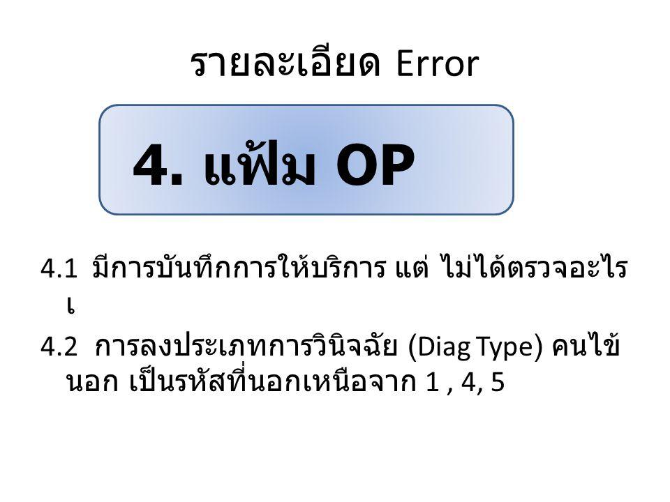 รายละเอียด Error 4.1 มีการบันทึกการให้บริการ แต่ ไม่ได้ตรวจอะไร เ 4.2 การลงประเภทการวินิจฉัย (Diag Type) คนไข้ นอก เป็นรหัสที่นอกเหนือจาก 1, 4, 5 4. แ
