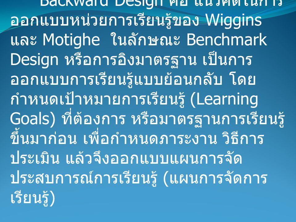 Backward Design คืออะไร Backward Design คือ แนวคิดในการ ออกแบบหน่วยการเรียนรู้ของ Wiggins และ Motighe ในลักษณะ Benchmark Design หรือการอิงมาตรฐาน เป็นการ ออกแบบการเรียนรู้แบบย้อนกลับ โดย กำหนดเป้าหมายการเรียนรู้ (Learning Goals) ที่ต้องการ หรือมาตรฐานการเรียนรู้ ขึ้นมาก่อน เพื่อกำหนดภาระงาน วิธีการ ประเมิน แล้วจึงออกแบบแผนการจัด ประสบการณ์การเรียนรู้ ( แผนการจัดการ เรียนรู้ )