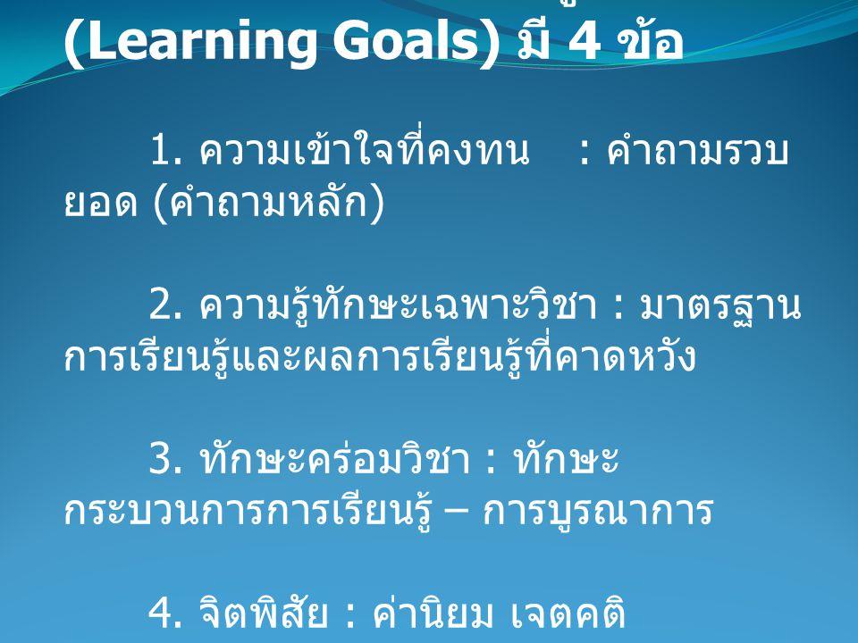 1.เป้าหมายการเรียนรู้ (Learning Goals) มี 4 ข้อ 1.