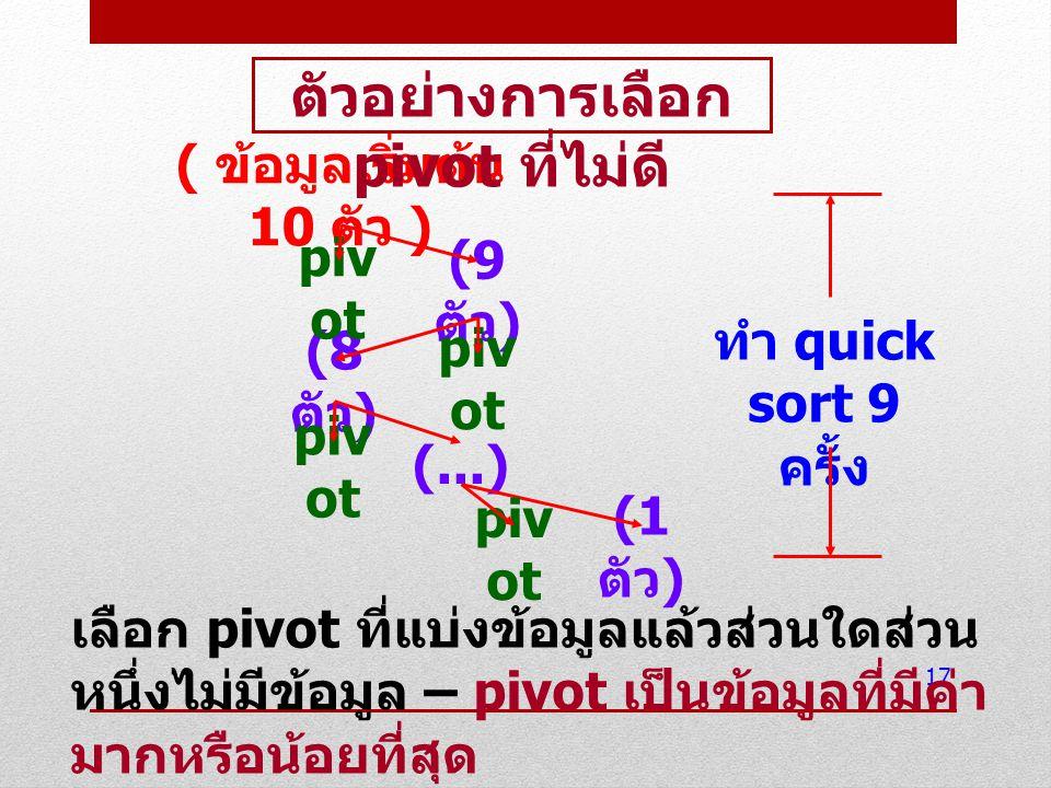 17 ( ข้อมูลเริ่มต้น 10 ตัว ) (9 ตัว ) (8 ตัว ) piv ot (...) piv ot (1 ตัว ) piv ot ทำ quick sort 9 ครั้ง ตัวอย่างการเลือก pivot ที่ไม่ดี เลือก pivot ท