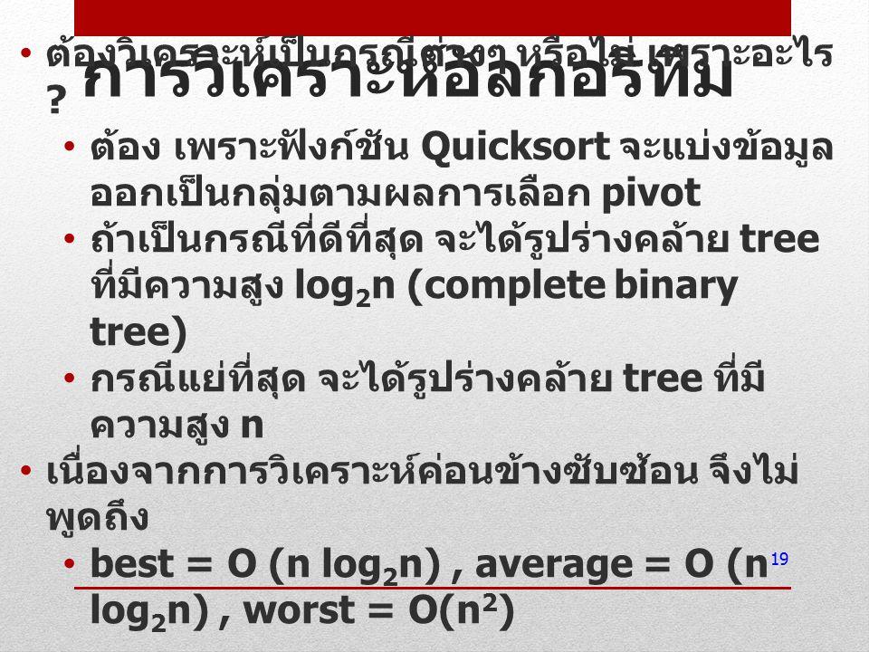 การวิเคราะห์อัลกอริทึม ต้องวิเคราะห์เป็นกรณีต่างๆ หรือไม่ เพราะอะไร ? ต้อง เพราะฟังก์ชัน Quicksort จะแบ่งข้อมูล ออกเป็นกลุ่มตามผลการเลือก pivot ถ้าเป็