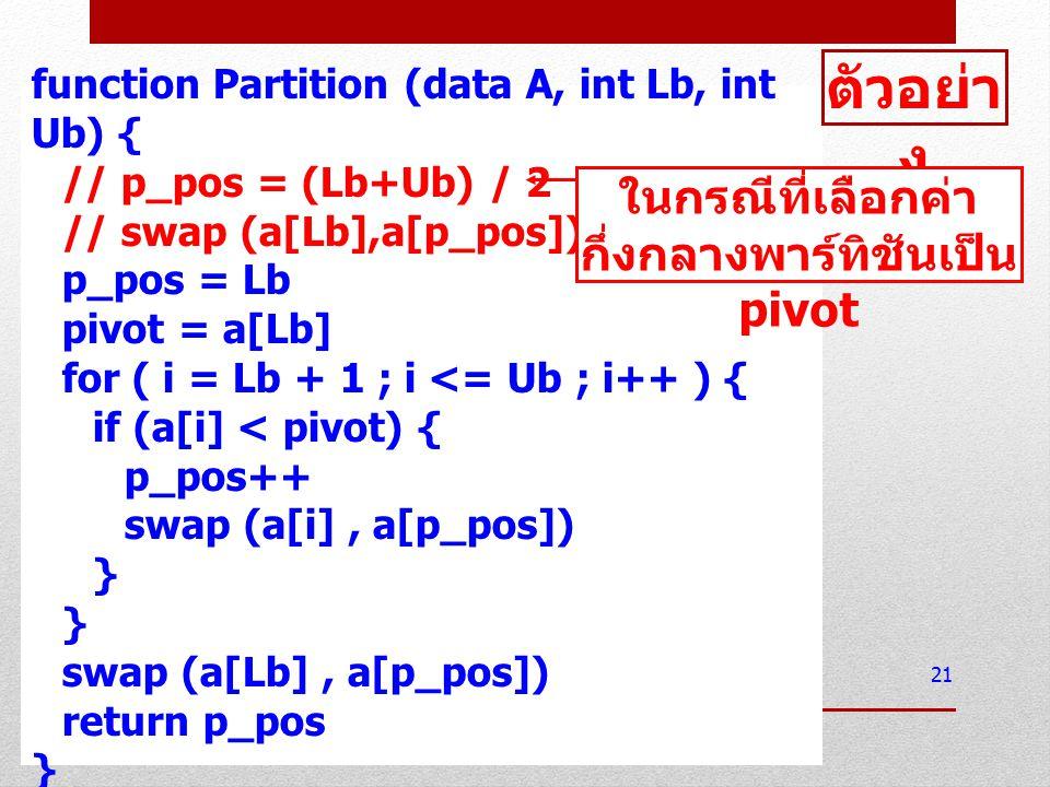 function Partition (data A, int Lb, int Ub) { // p_pos = (Lb+Ub) / 2 // swap (a[Lb],a[p_pos]) p_pos = Lb pivot = a[Lb] for ( i = Lb + 1 ; i <= Ub ; i+