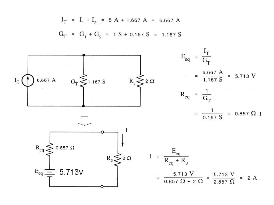 การคำนวณหาค่า R eq, E eq โดยใช้เทอมของตัวต้านทาน 5.713V