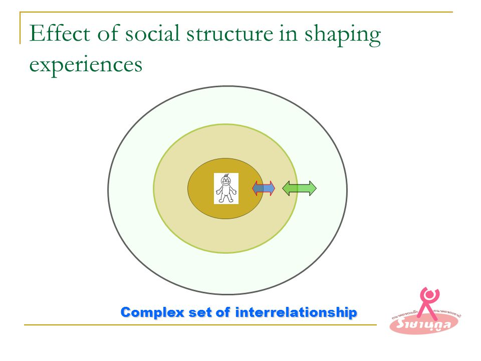 Effect of social structure in shaping experiences Complex set of interrelationship