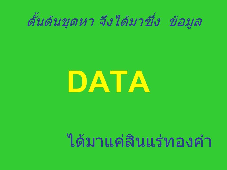 ดั้นด้นขุดหา จึงได้มาซึ่ง ข้อมูล DATA ได้มาแค่สินแร่ทองคำ