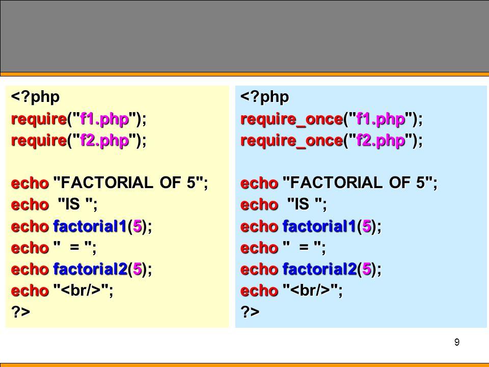 10 include()  เป็นฟังก์ชัน สำหรับโหลดแฟ้ม ที่นำมาใช้งาน ใน ลักษณะของ Reuse Code เหมือน require() และ require_once() include( filename ); รูปแบบfilename ชื่อของ แฟ้มข้อมูล ที่นิสิต ต้องการ เรียกใช้