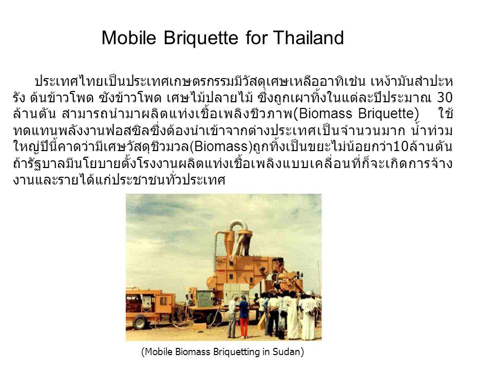 (Mobile Biomass Briquetting in Sudan) Mobile Briquette for Thailand ประเทศไทยเป็นประเทศเกษตรกรรมมีวัสดุเศษเหลืออาทิเช่น เหง้ามันสำปะห รัง ต้นข้าวโพด ซ