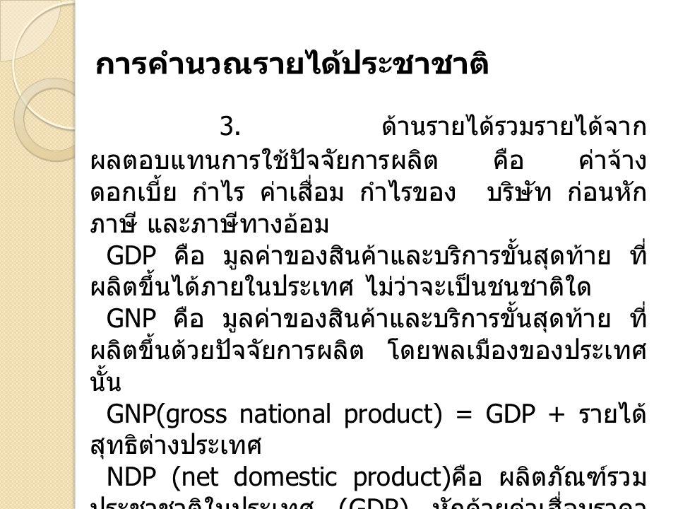 3. ด้านรายได้รวมรายได้จาก ผลตอบแทนการใช้ปัจจัยการผลิต คือ ค่าจ้าง ดอกเบี้ย กำไร ค่าเสื่อม กำไรของ บริษัท ก่อนหัก ภาษี และภาษีทางอ้อม GDP คือ มูลค่าของ