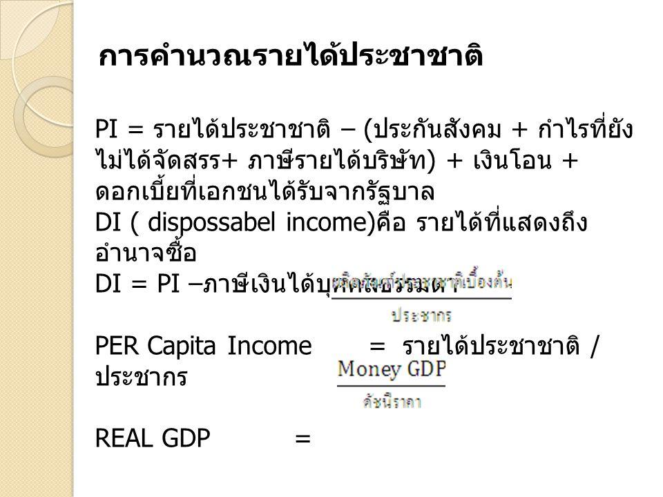 PI = รายได้ประชาชาติ – ( ประกันสังคม + กำไรที่ยัง ไม่ได้จัดสรร + ภาษีรายได้บริษัท ) + เงินโอน + ดอกเบี้ยที่เอกชนได้รับจากรัฐบาล DI ( dispossabel incom
