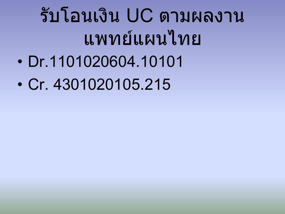 รับโอนเงิน UC ตามผลงาน แพทย์แผนไทย Dr.1101020604.10101 Cr. 4301020105.215