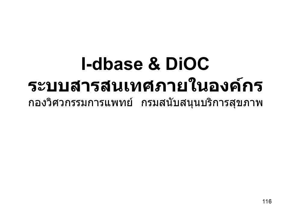 116 I-dbase & DiOC ระบบสารสนเทศภายในองค์กร กองวิศวกรรมการแพทย์ กรมสนับสนุนบริการสุขภาพ
