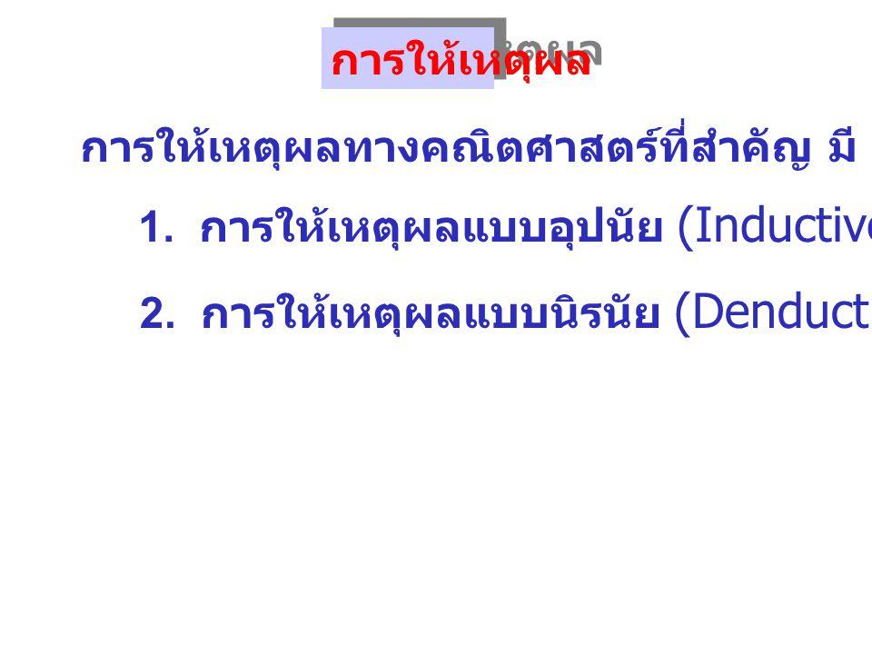 การให้เหตุผลแบบอุปนัย (Inductive Reasoning) 1 การให้เหตุผลแบบนิรนัย (Deductive Reasoning) 2 การให้เหตุผล