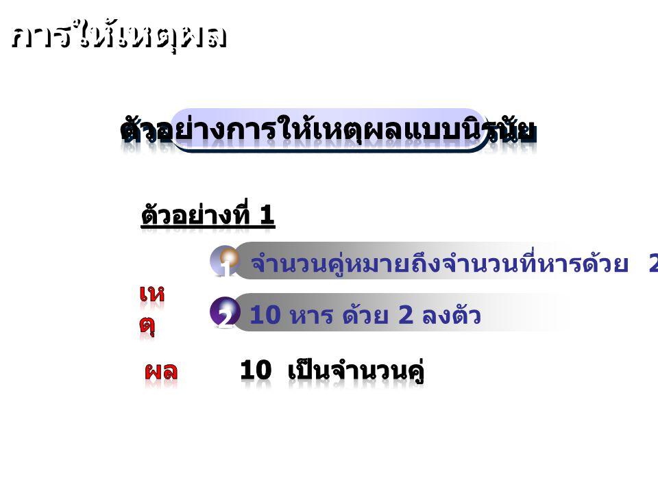 ตัวอย่าง เหตุ 1. คนไทยทุกคนมีโทรศัพท์มือถือ 2. ชาวนาในจังหวัดบุรีรัมย์เป็นคนไทย 3. สมชายเป็นชาวนาในจังหวัดบุรีรัมย์ สมชายมีโทรศัพท์มือถือ พิจารณาแผนภา